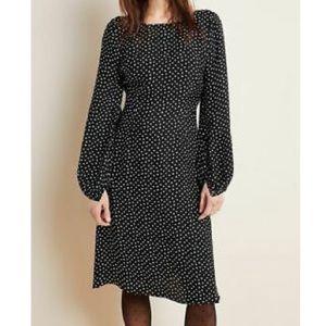 Anthropologie Midi Dress Black & White polka dot